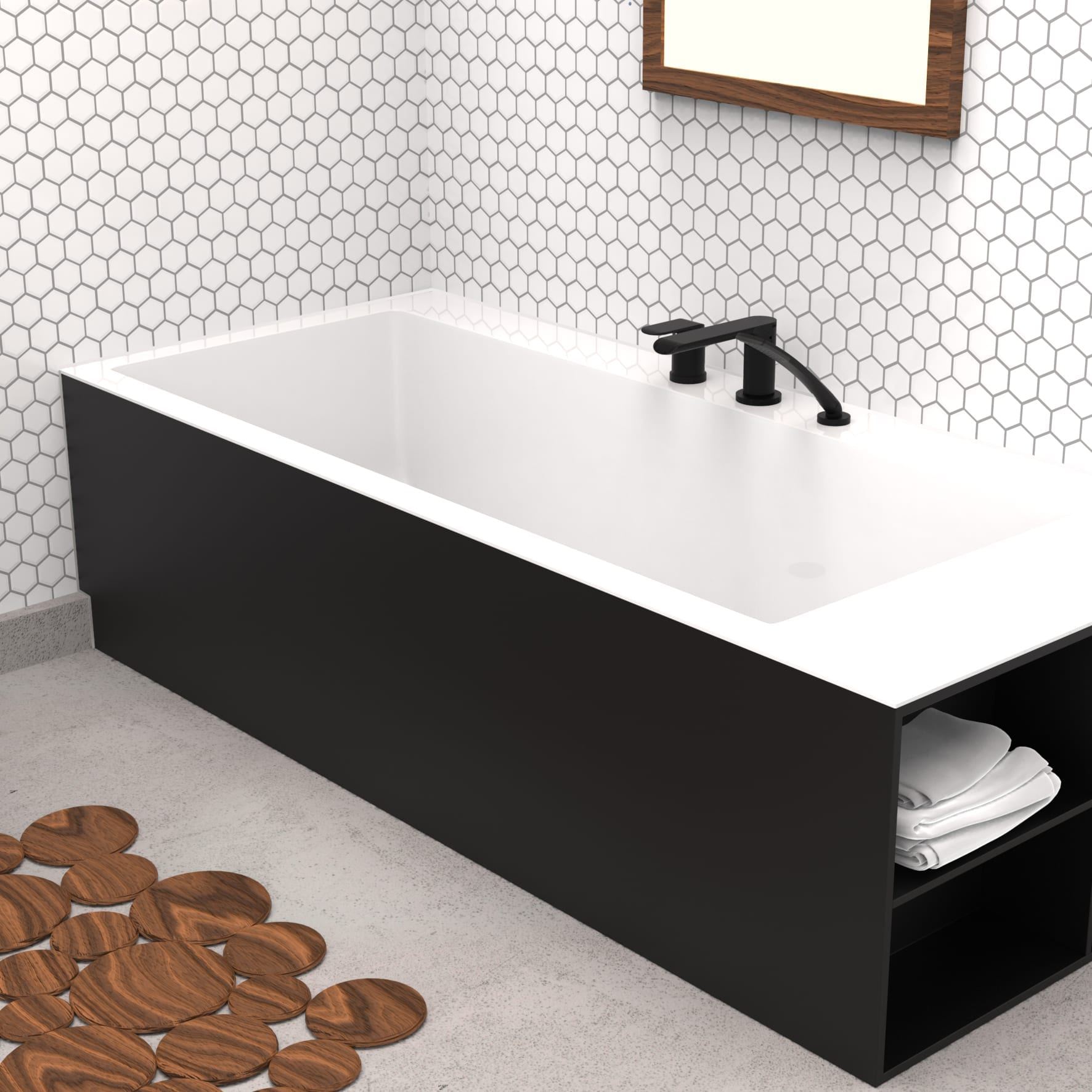 Matte Black Bathtub Faucet - Trim for Roman Bathtub, Hand Shower ...