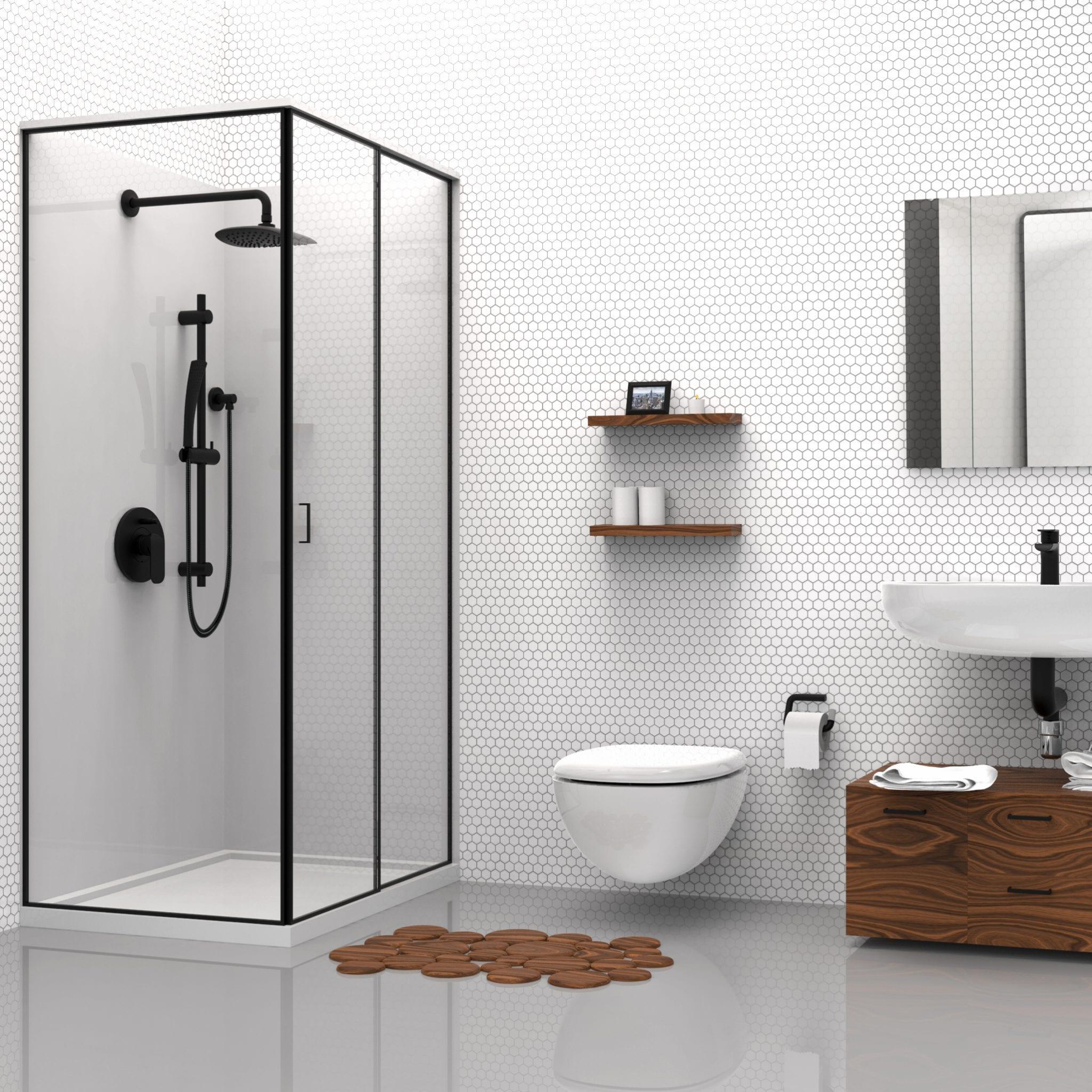 Kit Matte Black Shower Faucet Trim For Pressure Balanced Diverter