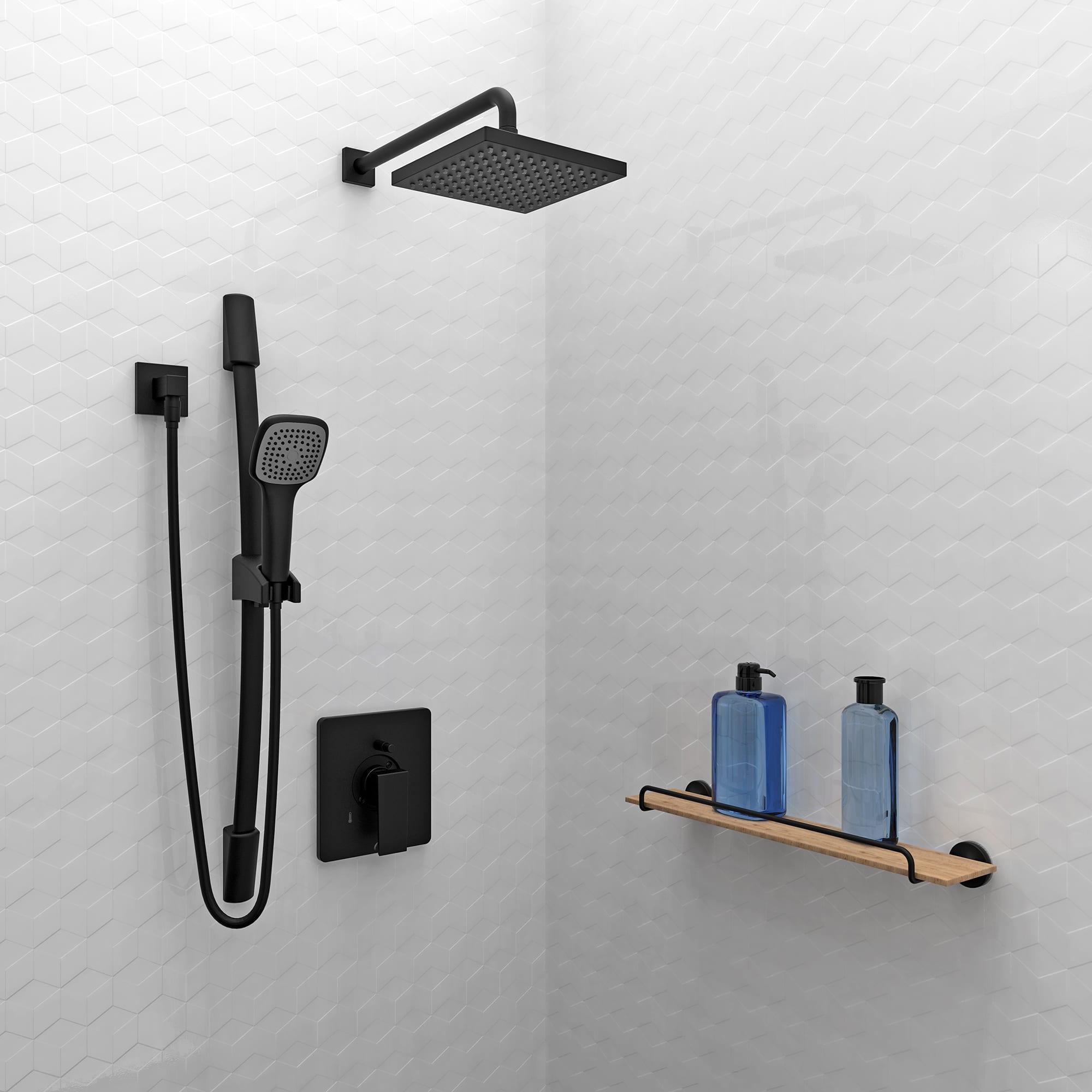 Kit Matte Black Shower Faucet Complete Model With