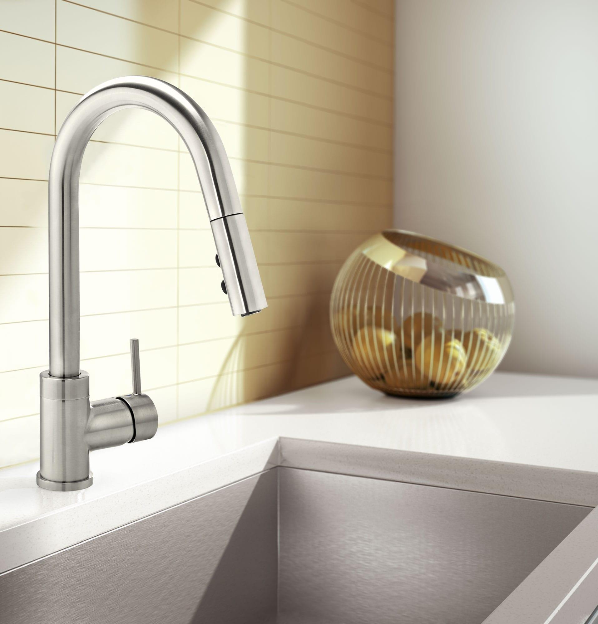 robinet pour vier de cuisine avec bec amovible pivotant b langer upt. Black Bedroom Furniture Sets. Home Design Ideas
