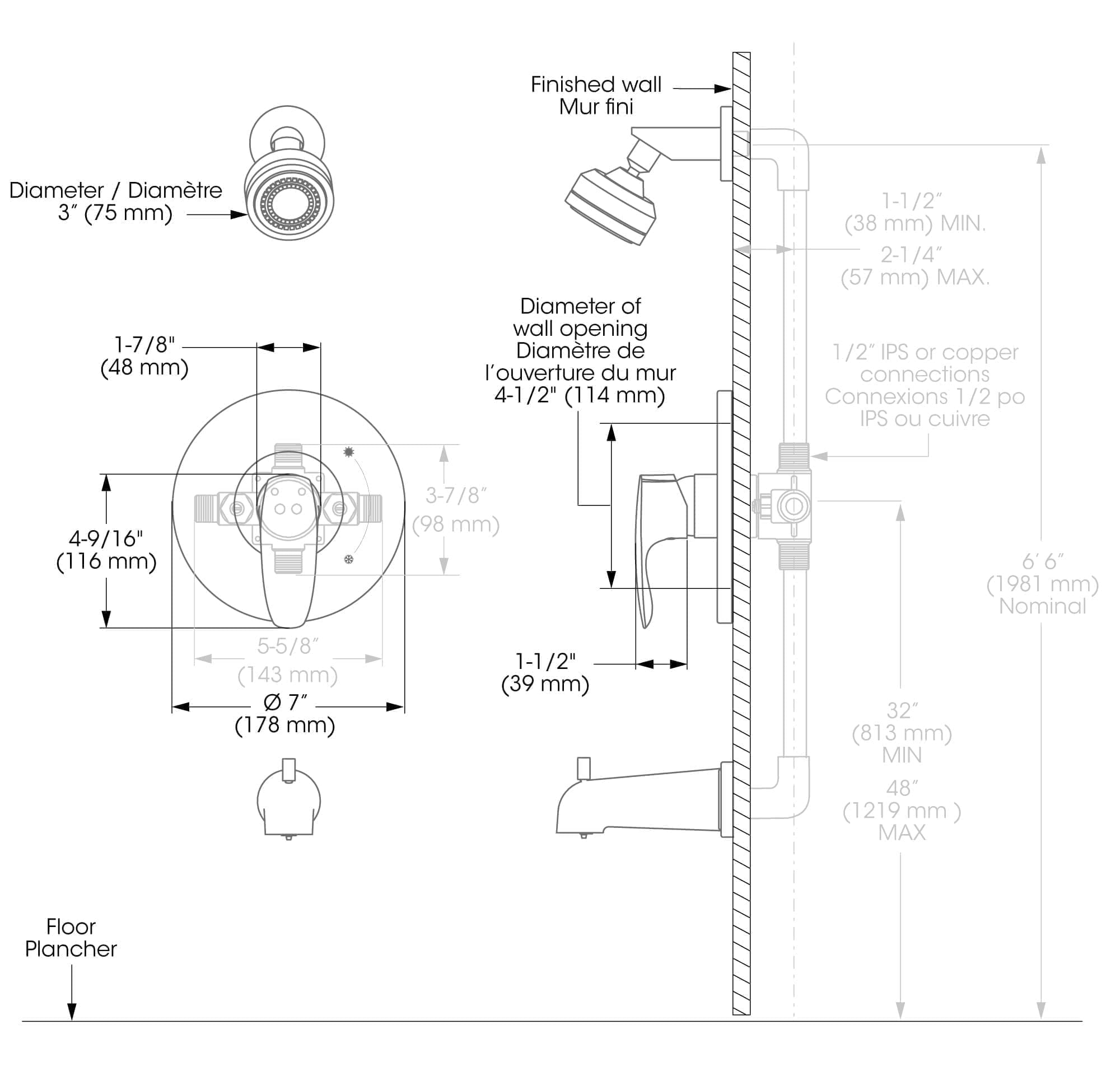Bathtub Shower Faucet Trim For Pressure Balanced Valve